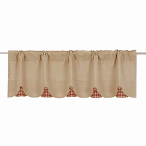 BURLAP NATURAL Valance w/Burgundy Check - 16x60 - Country Farmhouse - VHC Brands