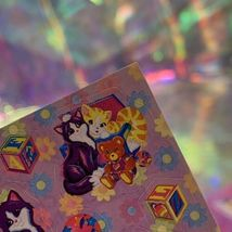 LEGIT VINTAGE Lisa Frank Sticker Sheet S722 Kitties & Teddy Bears & Blocks image 4