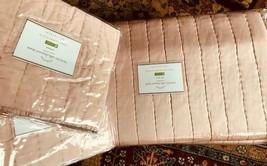 Pottery Barn Silk Channel Quilt Set Mauve Queen 2 Standard Shams Blush Pink $438 - $299.00