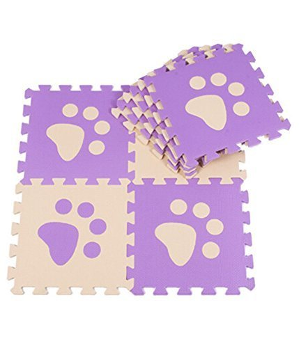 Interlocking Foam Mats EVA Foam Floor Mats (10 Tiles) Deep Purper Footprints