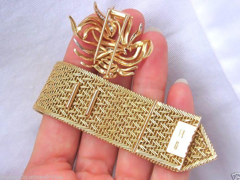 VINTAGE RETRO .45ct DIAMOND 76gr WOVEN 18K BROOCH & BELT BRACELET 1940 RARE 2in1