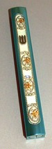 Judaica Mezuzah Case Turquoise Gold Crystals Slim Closed Back Bling 10 cm Scroll