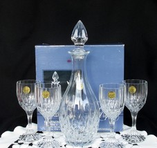 Vintage Cristal d'Arques Bretagne Set of 4 Wine Glasses and Decanter France Lead - $82.00