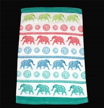 2 Cynthia Rowley Colorful ROWS OF SPOTTED ELEPHANTS Velour Hand Towels NWT - $24.99