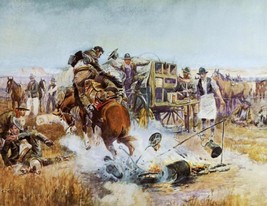 Bronc to Breakfast by Charles Russell Cowboy Bucking Horse Western 32x24 Canva - $261.36