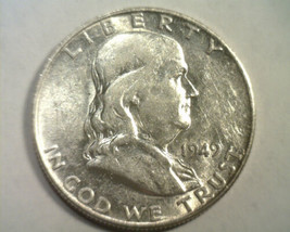 1949-D FRANKLIN HALF DOLLAR CHOICE ABOUT UNCIRCULATED CH. AU NICE ORIGIN... - $38.00