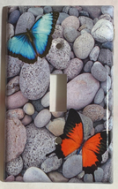 Butterflies Blue Orange river rock Switch Outlet wall Cover Plate home decor image 1