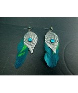 Vintage Feather Leaves Rhinestone Dangle Earrings Green Pierced - $11.75