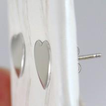 Boucles D'Oreilles or Blanc 750 18K A Lobe, avec Coeur Plat, Cœurs Longueur image 2