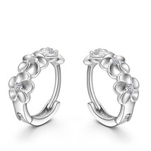Top Sale 925 Sterling Silver Earring Woven Flowers Shape Hoop Earrings E... - $13.99
