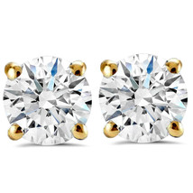 1.50ct Round Diamond Studs with Screw Backs 14k Yellow Gold Finish 925 Silver - $41.99