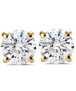 1.50ct Round Diamond Studs with Screw Backs 14k Yellow Gold Finish 925 S... - £31.50 GBP