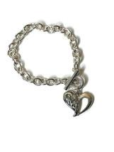 Silver Tone Charm Bracelet Heart Dangle Toggle Closure - $16.79