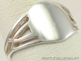 Antique Ostby & Barton 1920's Art Deco Soliid Silver Cocktail Blank Signet Ring - $173.25