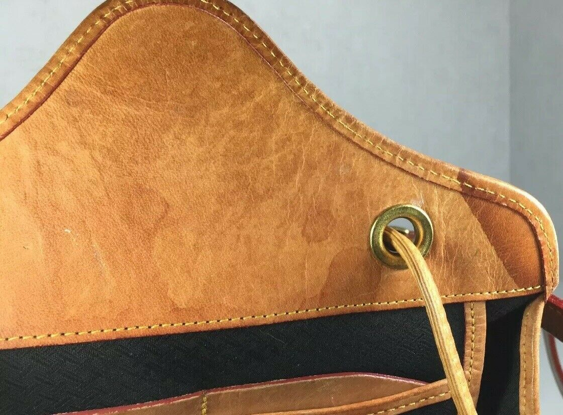 Dooney & Bourke Vintage Green Fabric Tan Leather Trim Backpack- Made In USA