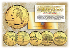 1999 US Statehood Quarters 24K GOLD PLATED ** 5-Coin Complete Set ** w/C... - $9.46