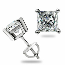 1.05Ct Princess cut Solitaire Stud Earrings Lab Diamond 14k White Gold S... - $49.98