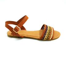 Bamboo Womens Splendid-66 Ankle Strap Sandals Multicolor Woven Buckle 7.5 New - $21.45