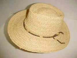 Dorfman Pacific Men's Genuine Raffia Straw Paper Hat Beads Band Natural ... - $24.74
