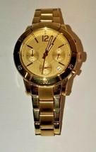 Jennifer Lopez JLO Yellow Gold Watch Chronograph Dial Stainless Steel Quartz Men - $64.35