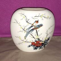 Vtg Fine China Porcelain Narrow Opening Oval Vase Birds Trees Blossoms J... - $19.79