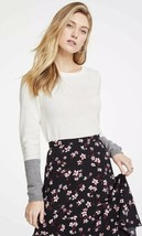 NWT Womens Ann Taylor L/S Winter White Color Block Sleeve Sweater Sz Large - $26.72