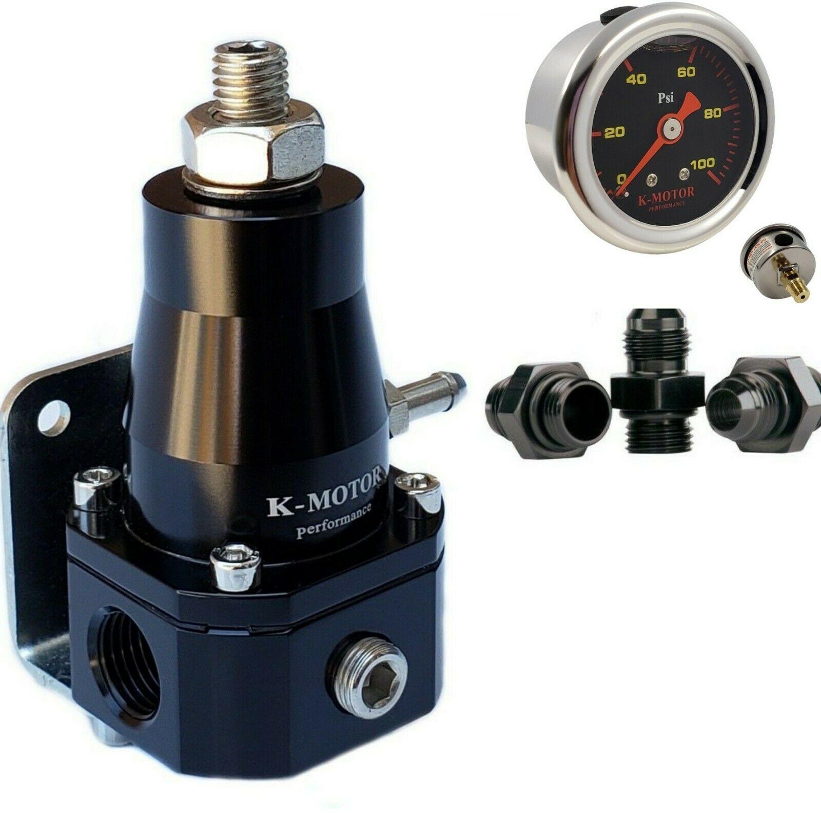 Universal Adjustable EFI Aluminum Fuel Pressure Regulator Kit with 0-100 psi Gauge AN6-6AN Fuel Line Hose Fittings Black
