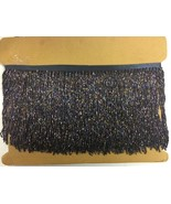 "By the Yard-6"" Glass BLACK AB/BUGLE Seed Beaded Fringe Lamp Costume Trim... - $15.99"