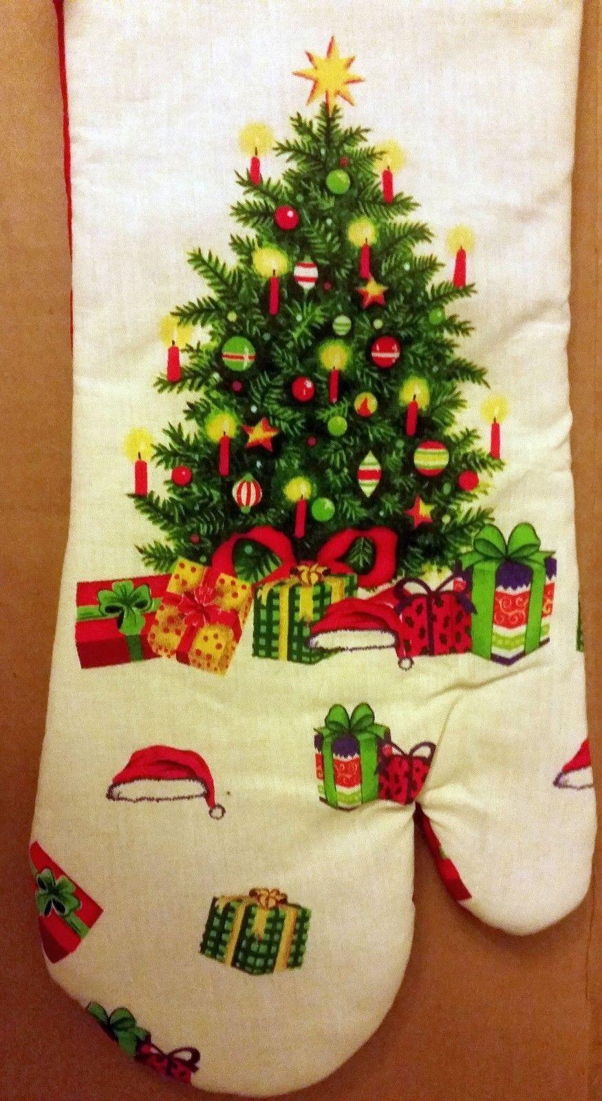 "Oversized Printed Kitchen 14.5"" Oven Mitt, WINTER, THE CHRISTMAS TREE"
