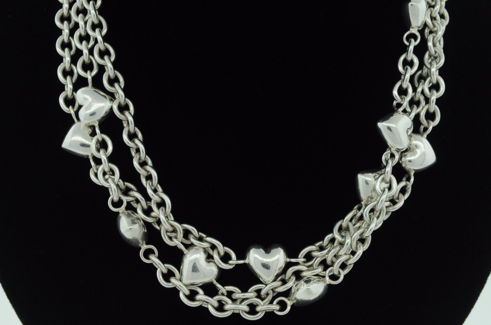 """TIFFANY & CO. Sterling Silver Heart Chain Toggle Necklace (17.5"""")"""