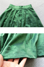 Emerlad Green Midi Party Skirt Outfit Glitter A-line Midi Skirt High Waisted image 4