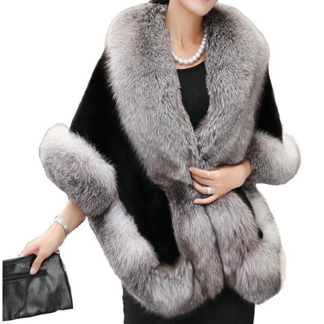 Luxury Women's Ladies Faux Mink Cashmere Wedding Winter Long Fur Coat Shawl Cape for sale  USA
