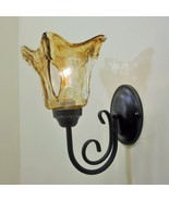 Bronze Finish Swirl Art Glass Wall Sconce Vintage Edison Bulb Type Fixture - $57.96