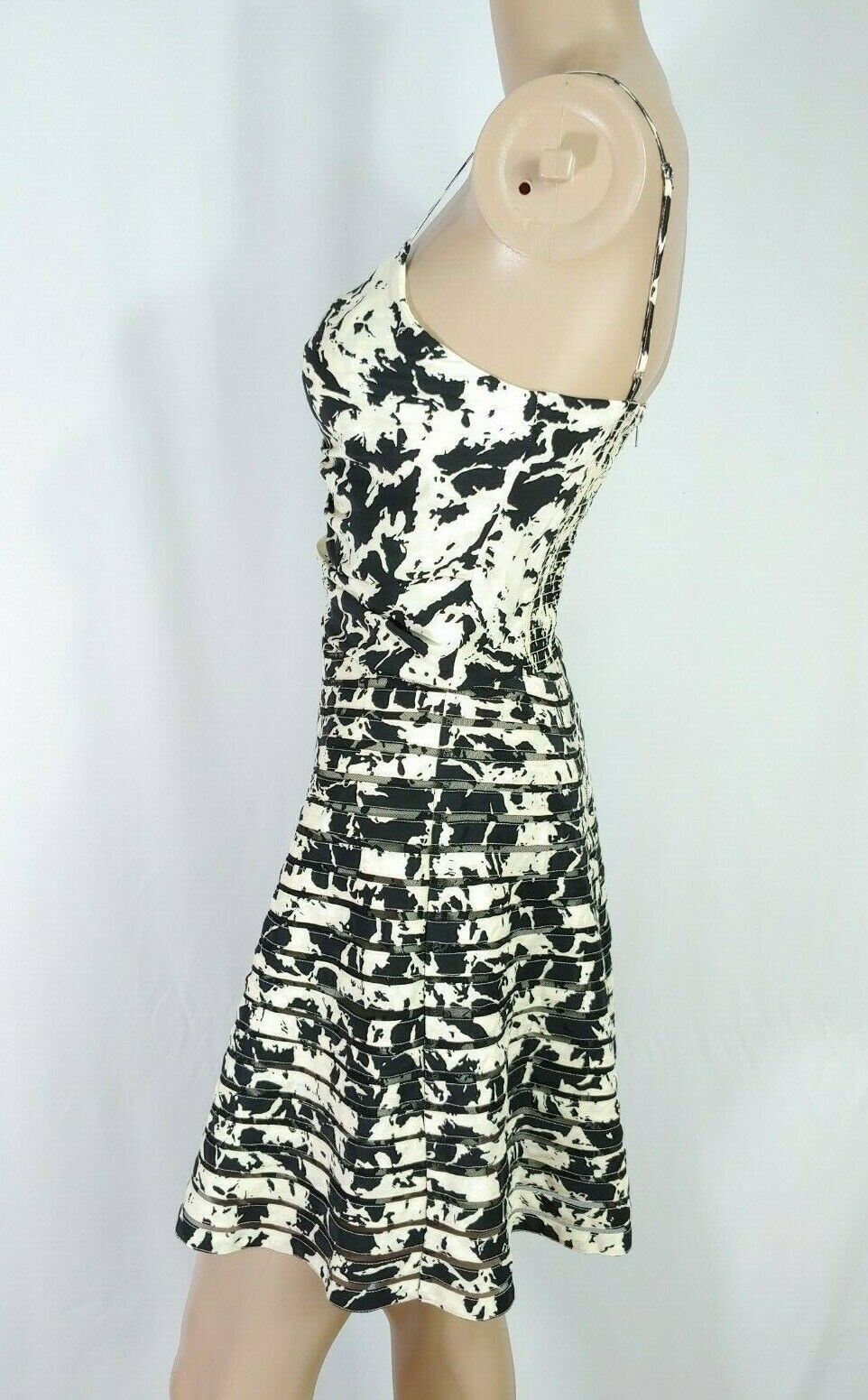 Parker $228 Mesh Stripe Insert Ivory Black Abstract Fit & Flare Party Dress XS
