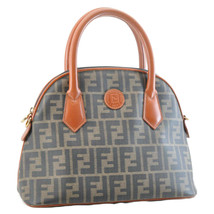 FENDI Zucca Canvas Hand Bag Brown PVC Leather Auth sa1311 - $473.10