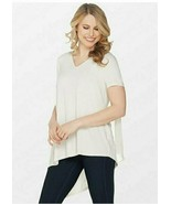 Lisa Rinna Collection V-Neck Top with Chiffon Back Detail, Ivory, Small ... - $17.81
