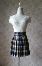 Girl College Style High Waist Plaid Skirt Short Pleat Plaid Skirt Tennis Skirt