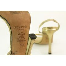 Authentic Jimmy Choo Gold w/ Crystals & Buckle Slingback Leather Sandals -Sz37.5 image 9