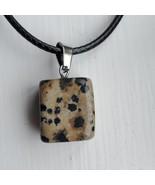 """Necklace with Polished Stone Pendant, Dalmatian Jasper Gemstone, 18"""" bla... - $16.99"""