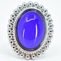 Beaded Edge Silver Tone Oval Cabochon Color Changing Adjustable Mood Ring image 6
