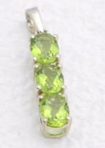 VTG .925 Sterling Silver Green Faceted Glass Rhinestone Necklace Pendant - $29.70