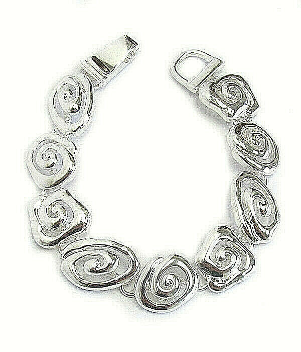 Primary image for Thick Swirl Link Bracelet Silver NEW