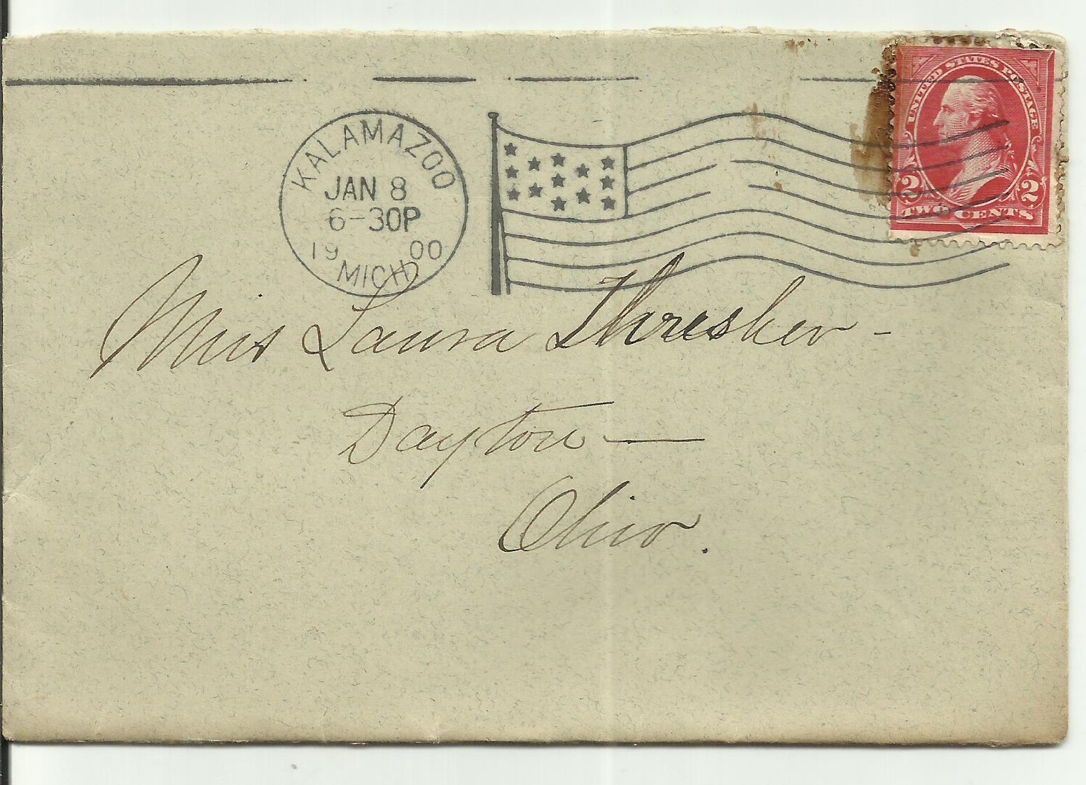 KALAMAZOO, MICH. JANUARY 8, 1900 FLAG CANCEL