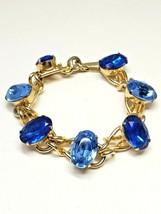 VINTAGE BLUE Rhinestone Gold Tone Link Bracelet (7) LARGE GLASS STONES - $44.99