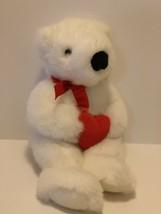 "1997 TY Plush White Valentine Romeo Bear with Red Heart 14"" Stuffed Animal - $11.88"
