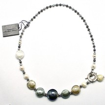 NECKLACE ANTIQUE MURRINA VENICE WITH MURANO GLASS BEIGE SAND GRAY COB14A06 image 2