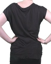 Bench GB Mujer Negro de Ley 925 Manga Japonesa Escote en U Camiseta BLGA2369 Nwt image 2