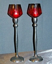 Red Cut Glass Candlestick Holders AB 312 Vintage image 2