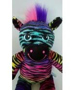 Build A Bear Zebra Black w/ Rainbow Stripes Plush Stuffed Animal Doll To... - $11.82