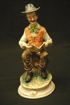 Old Vintage Capodimonte Style Art Crown N Man Reading Newspaper Figurine Italy - $74.24